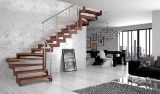 Коричневая лестница буквой Г, металлокаркас ЛМГО1