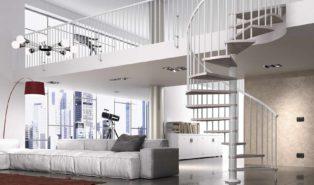 Белая металлическая винтовая лестница ЛМВ35
