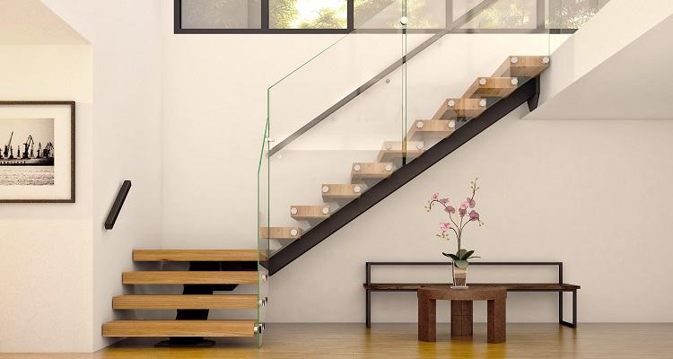 Г-образная лестница, металлокаркас, деревянные ступени ЛГО10