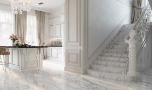 Отделка лестницы мрамором ОЛМ11