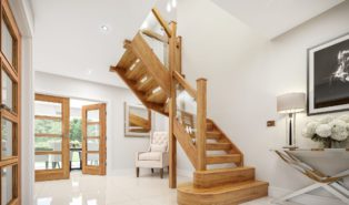 Лестница из массива лиственницы ЛЛ12