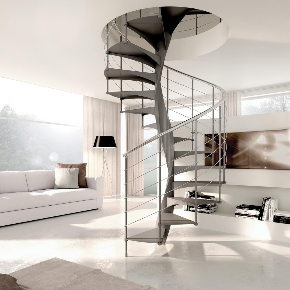 Внутренняя металлическая винтовая лестница, стильная ЛМВ12