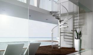 Внутренняя белая металлическая винтовая лестница ЛМВ13