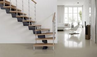 Г-образная лестница, каркас, ступени из массива ЛГО14