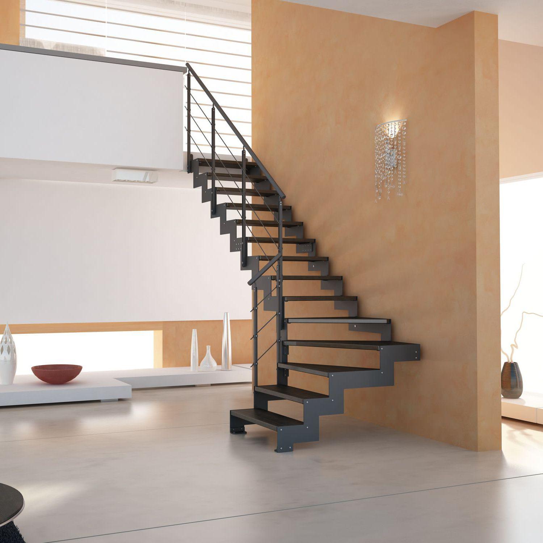 Лестница буквой Г, металлокаркас, черная ЛМГО14