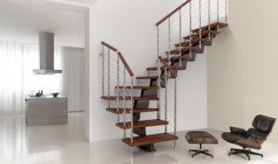 Лестница буквой Г, металлическая, коричневые ступени ЛМГО17