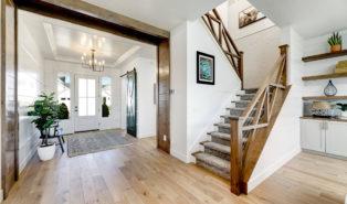 Лестница буквой П с деревянными ступенями ЛПО18