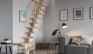 Крутая лестница Г-образная, металлокаркас ЛМГО17