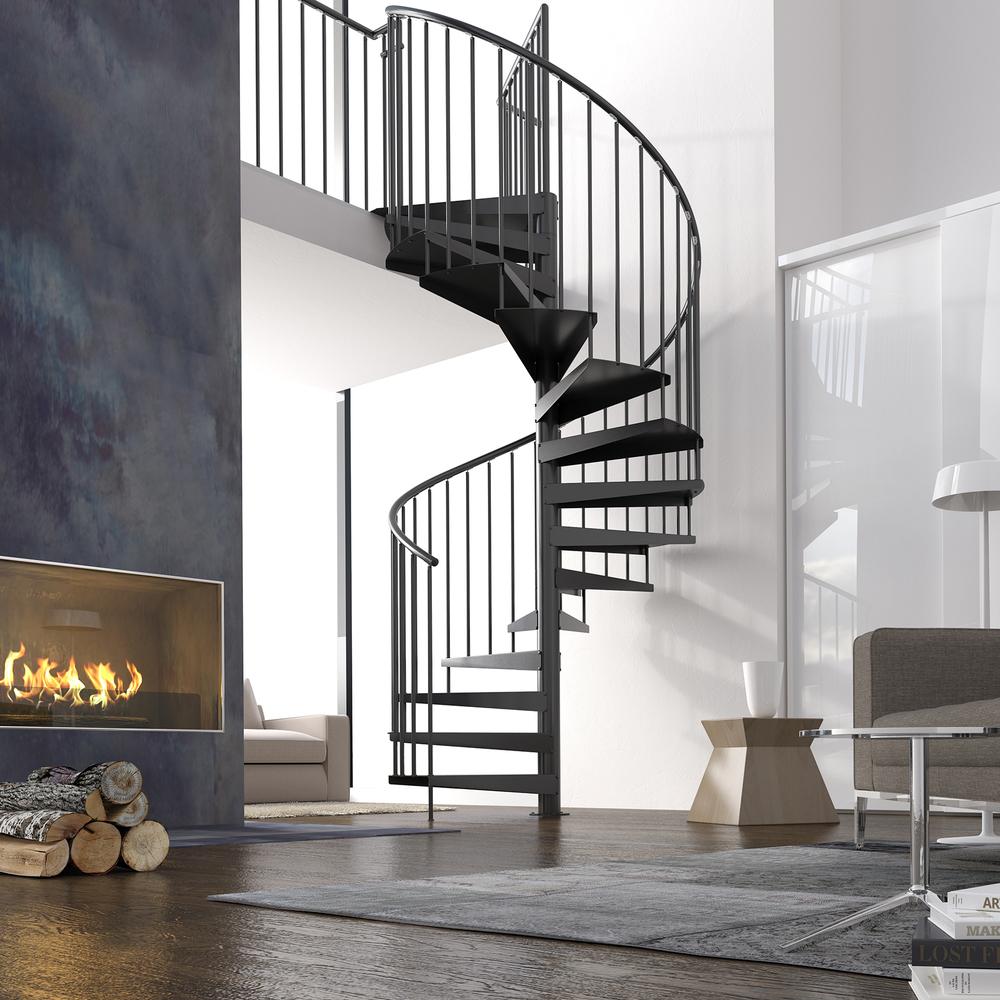 Винтовая металлическая лестница, черная ЛМВ19