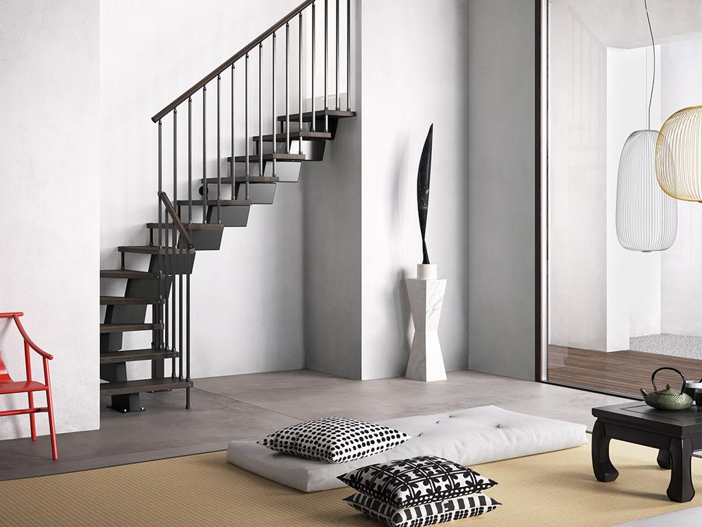 Черная лестница буквой Г, металлокаркас ЛМГО2