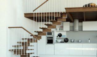 Лестница буквой Г, металлокаркас, ступени из дерева ЛГО20