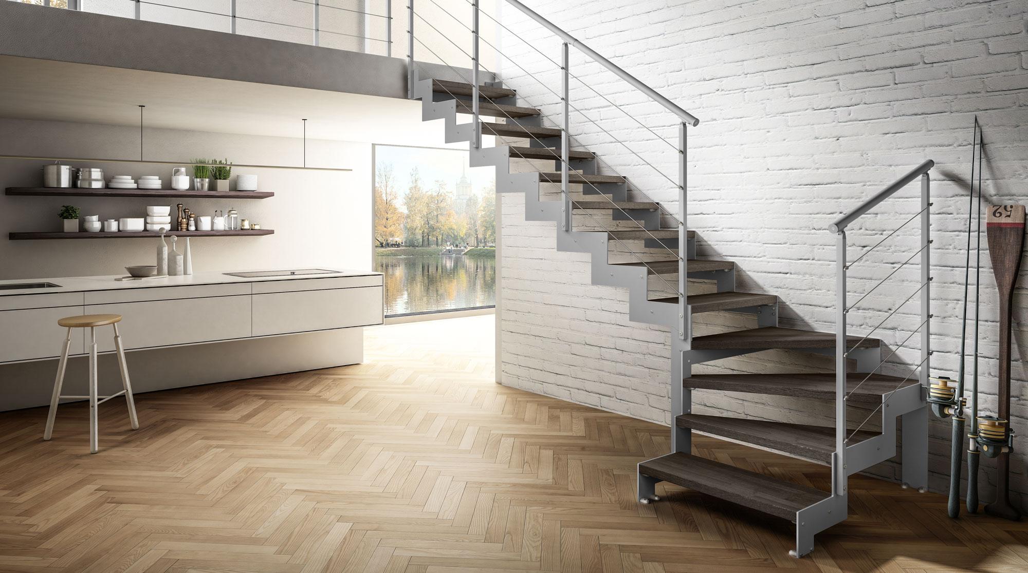 Металлокаркас, лестница буквой Г ЛМГО21