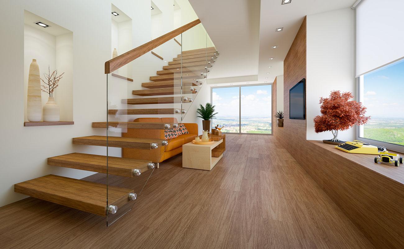 Прямая лестница, ступени из дерева, стекло ЛП22