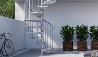 Винтовая металлическая лестница, уличная ЛМВ22