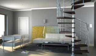 Винтовая металлическая лестница, комнатная ЛМВ23