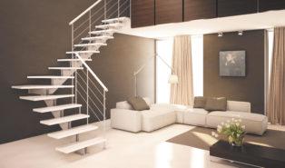 Металлическая Г-образная лестница, белая ЛМГО28