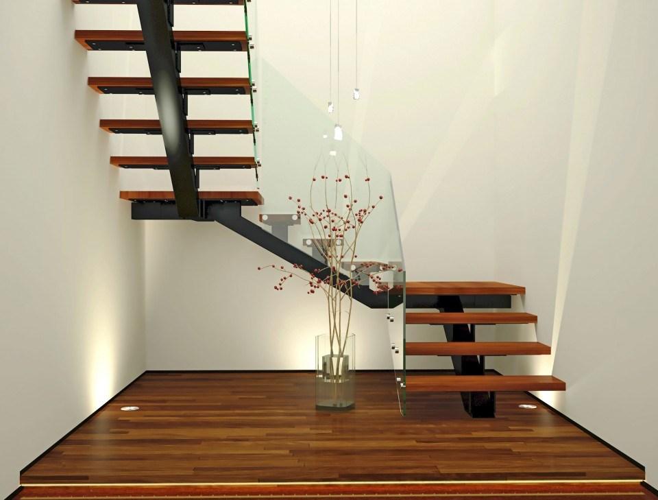Лестница буквой Г, ступени из темного дерева ЛГО29