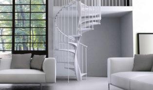 Винтовая металлическая лестница, белая ЛМВ29