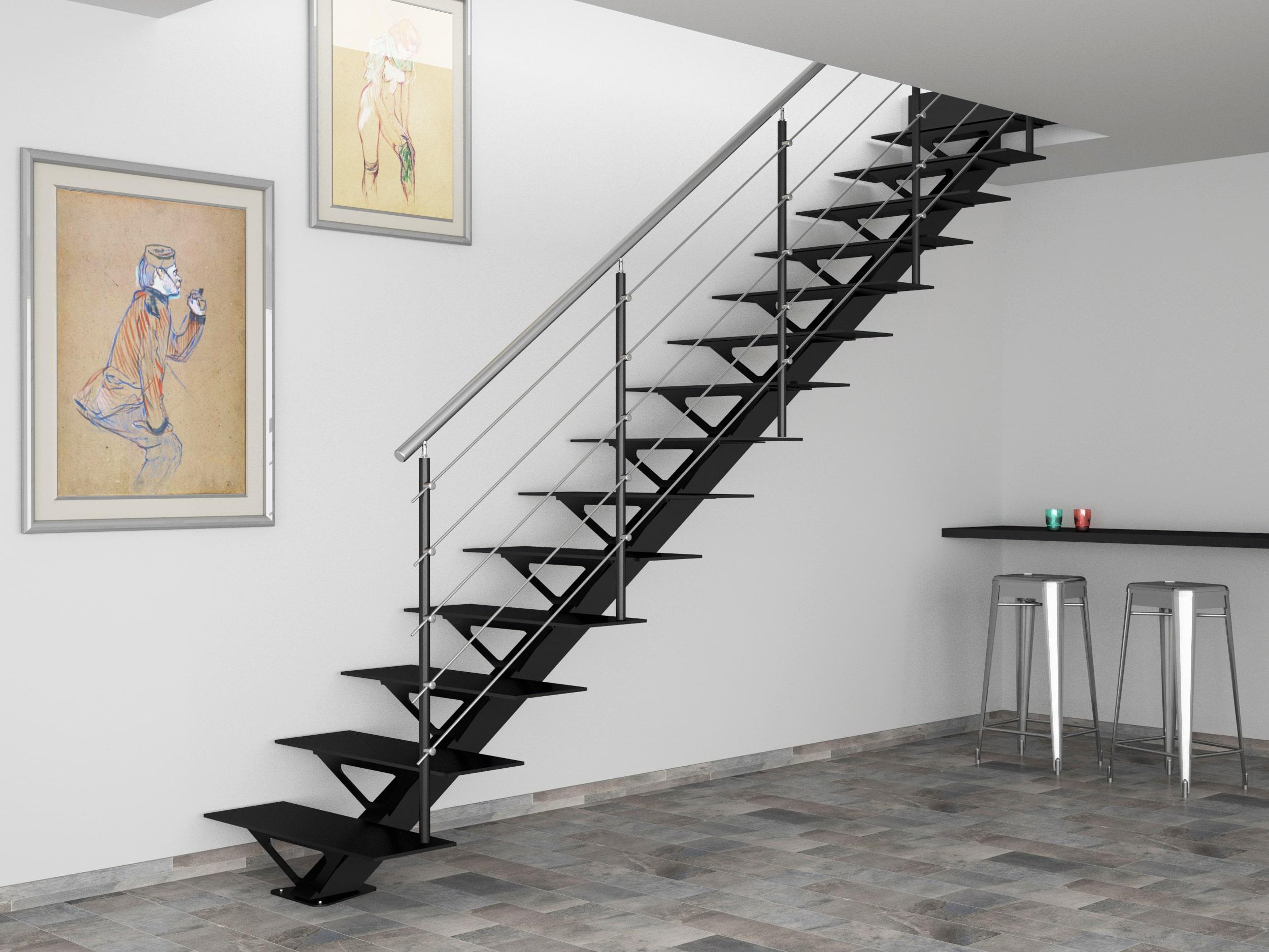Прямая лестница из металла, черная ЛМП30