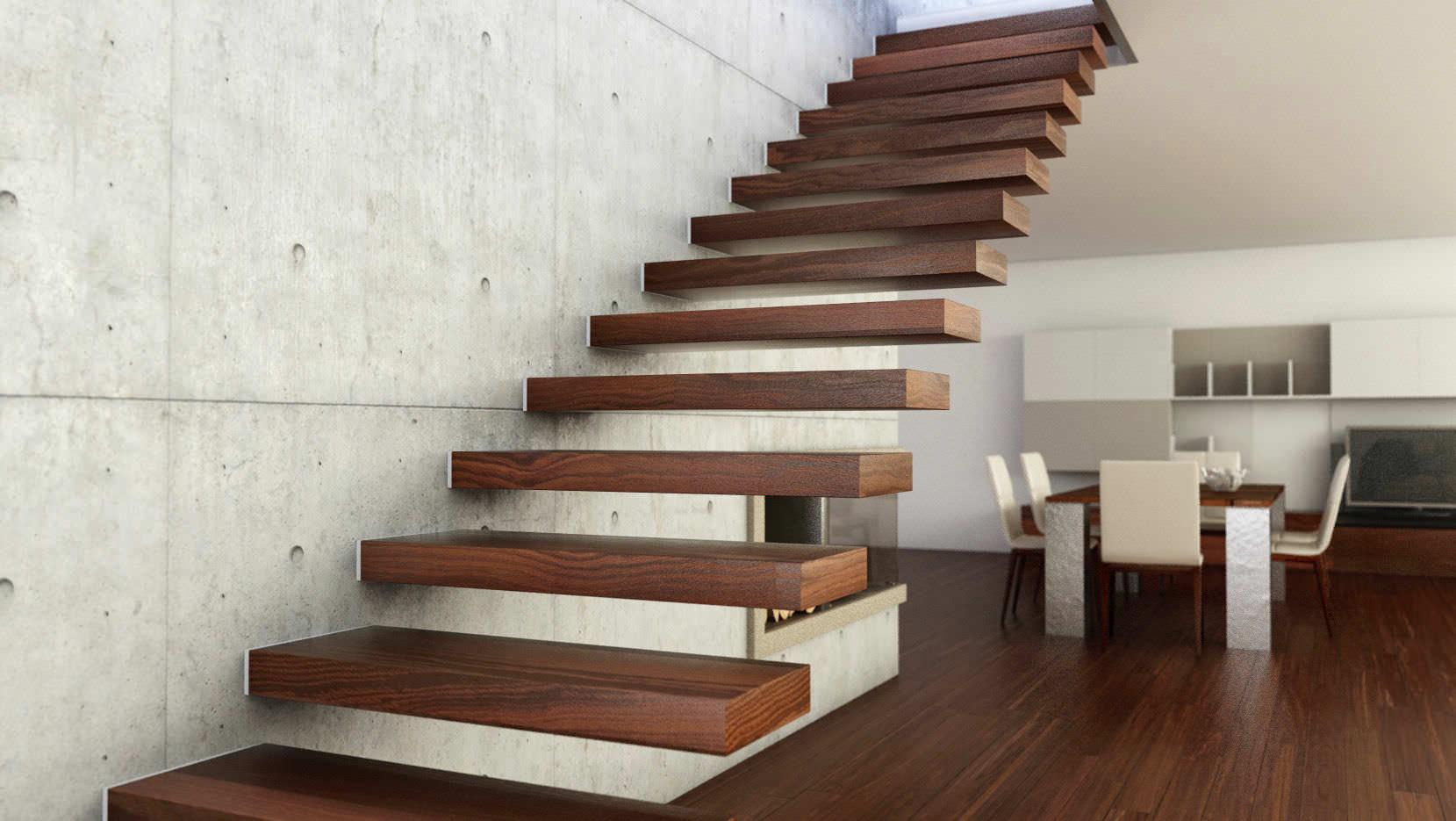 Прямая лестница из стены, темный массив ЛП31