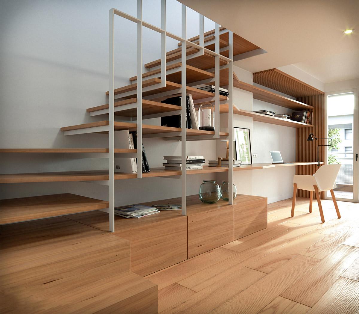 Лестница-шкаф буквой Г из дерева ЛГО31