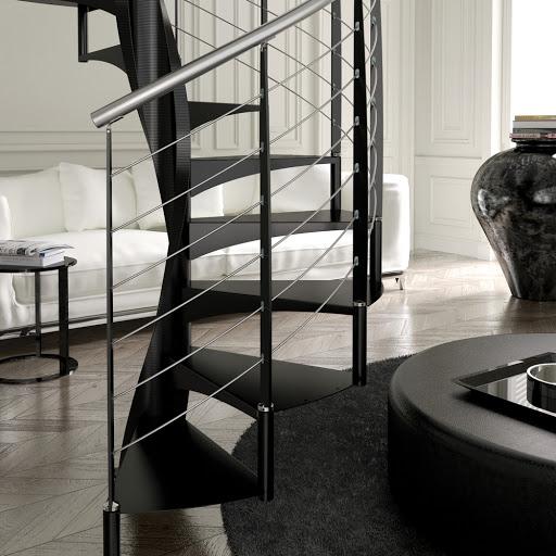 Винтовая металлическая лестница, черная ЛМВ31