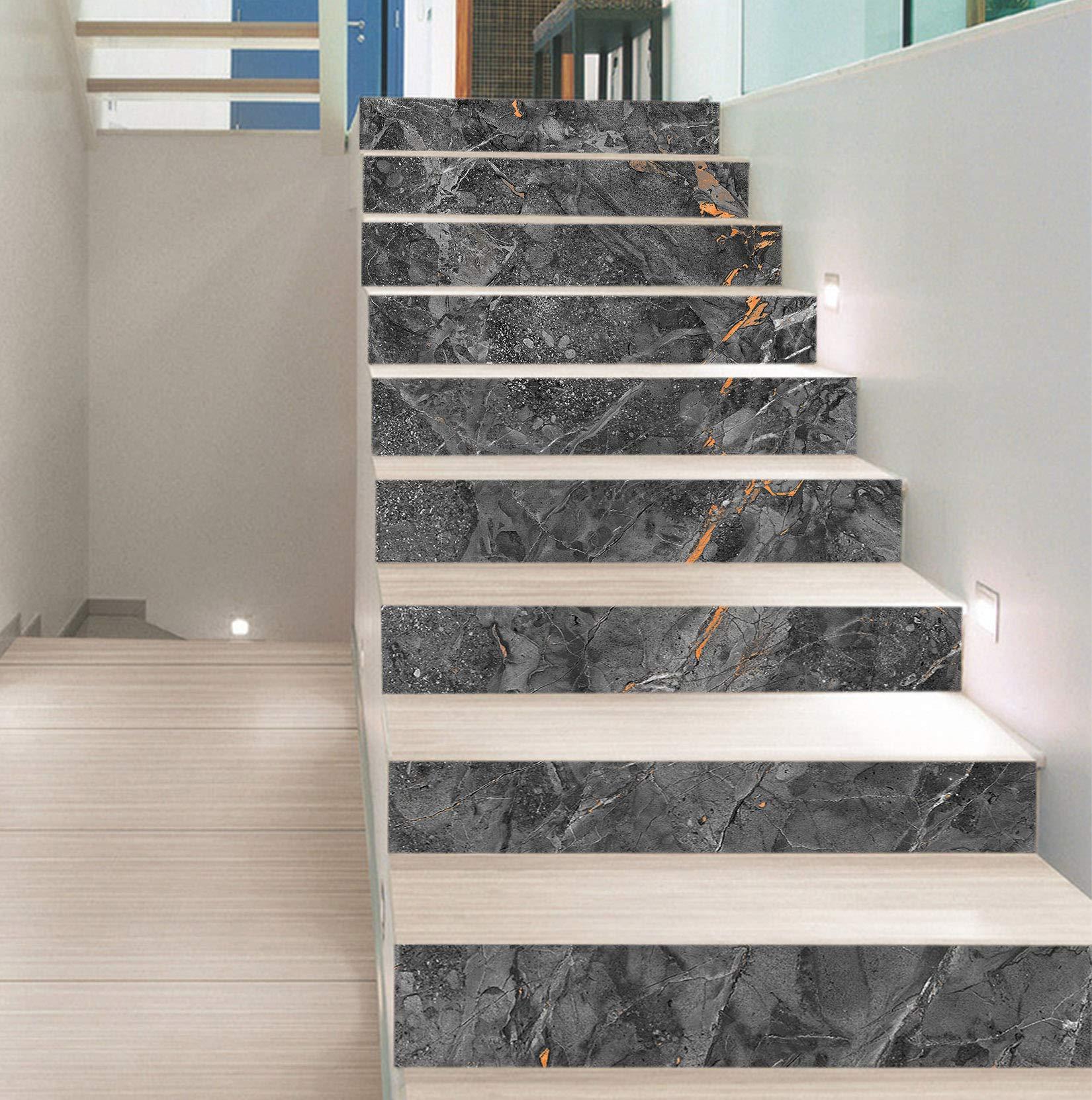 Отделка лестницы темным мрамором ОЛМ4