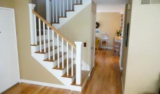 П-образная лестница, ступени из дерева ЛПО4