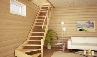 Лестница из светлой лиственницы ЛЛ5