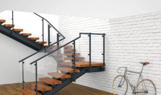 П-образная лестница, металлокаркас, ступени из дерева ЛПО5