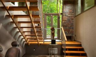 Деревянная П-образная лестница ЛПО6