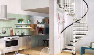 Черно-белая металлическая винтовая лестница ЛМВ6