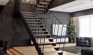 Белая П-образная лестница, с высокими металлическими перилами ЛМПО7