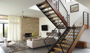П-образная лестница, каркас, ступени дерево ЛПО8