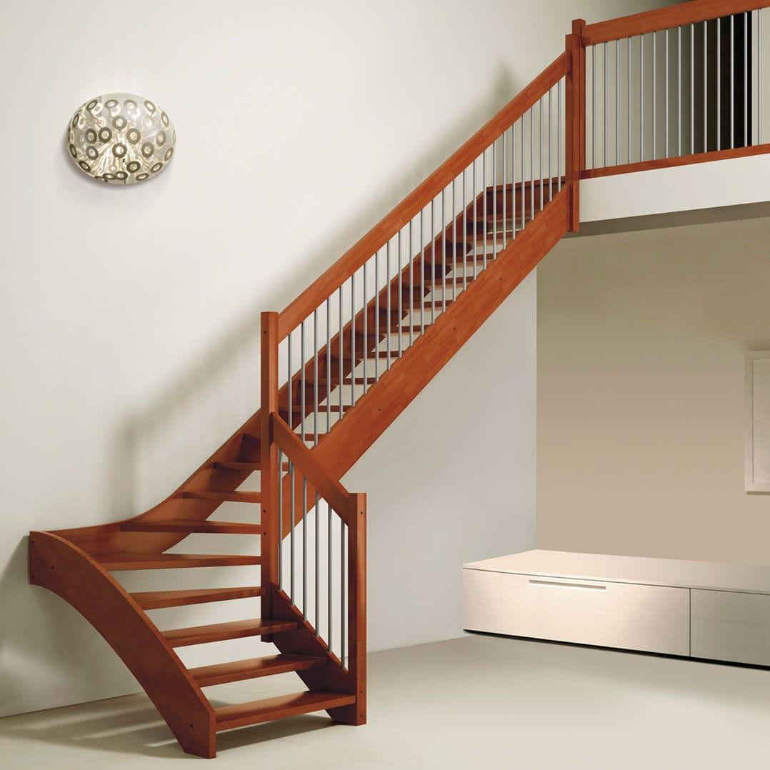 Деревянная Г-образная лестница, темная ЛГО8