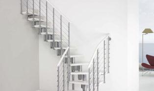 Лестница Г-образная, белая, металлокаркас ЛМГО8