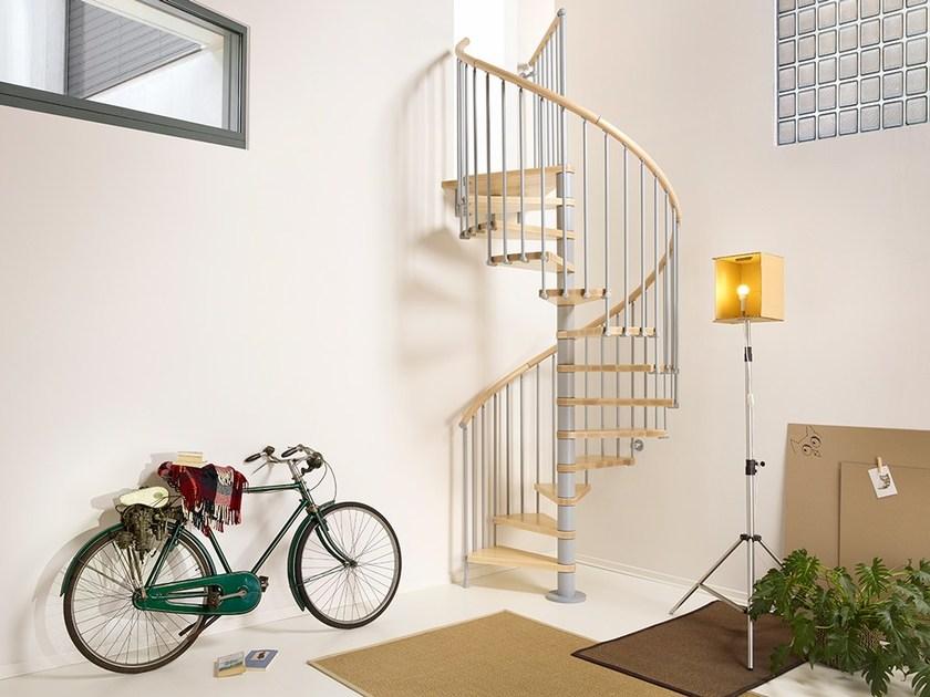 Металлическая винтовая лестница, ступени дерево ЛМВ8
