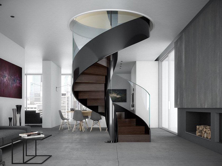Металлическая винтовая лестница, ступени дерево ЛМВ9